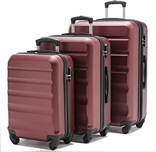 【VIHEEVA】Anti-scratch Hardside Spinner Luggage Sets Expandable(only 28inch) 3 Piece Set Lightweight suitcase (Bordeaux)