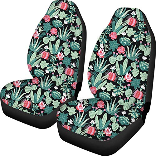 Guwafa8 Stylish Floral Cactus Printed Auto Seat Protector Bucket Seat Cover for Car SUV Truck or Van Polyester Fabric Elastic Cushion