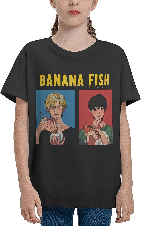 JarBruan Unisex Kid Manga Design Tee for Big Boy Girls Anime Cotton T-Shirts Child Cartoon Casual Clothing School Black