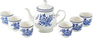 8 Pieces Blue and White Porcelain Tea Sets,Ceramic Kungfu Tea Pot,Tea Cups for 6,Afternoon Tea Set,Ceramic Gift for Home,Office,Wedding