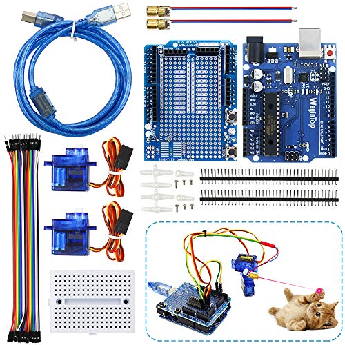 WayinTop Automatisches Katzen Spielzeug DIY Kit mit Tutorial, Entwicklungs-Board mit 1,5 m Kabel für Arduino UNO + Prototype Shield Mini Breadboard + SG90 Servo + Jumper Wire + Pin Header