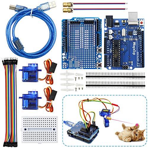 WayinTop Automatisches Katzen Spielzeug DIY Kit mit Tutorial, Entwicklungs-Board mit 1,5 m Kabel für Arduino UNO + Prototype Shield Mini Breadboard + SG90 Servo + Jumper Wire + Pin Header