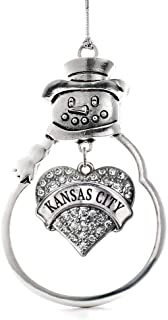 Inspired Silver - Kansas City Charm Ornament - Silver Pave Heart Charm Snowman Ornament with Cubic Zirconia Jewelry
