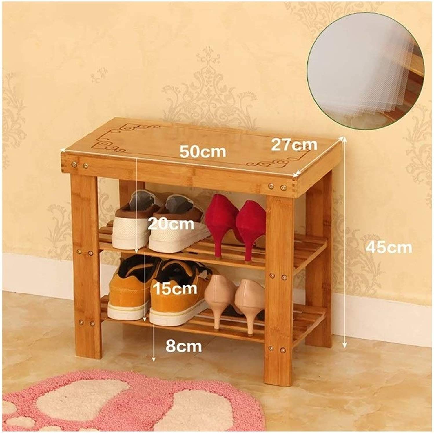 2 Layer shoes Stool Bamboo shoes Stool Living Room shoes Rack Bedroom Corridor Stool (Size   50  27  45cm)