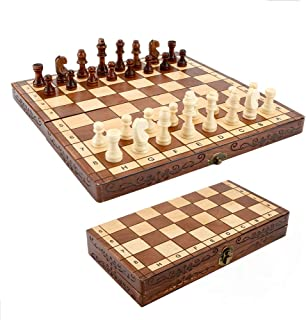 Syrace Folding Hand Crafted Wooden Chess Set Chess Board 30 x 30CM