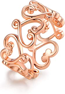 Rose Gold, White Gold or Gold Plated Filigree Heart Ring
