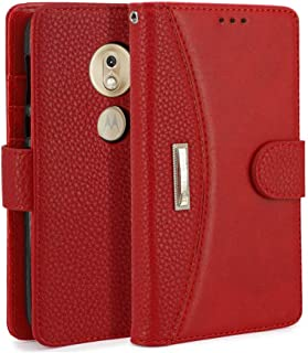 IDOOLS Phone Case,Moto G7 Play Phone Cases Wallet with Card Slot,Flip Cover and Mobile Phone Stand,Removable Hand Strap, for Moto G7 Play - Red