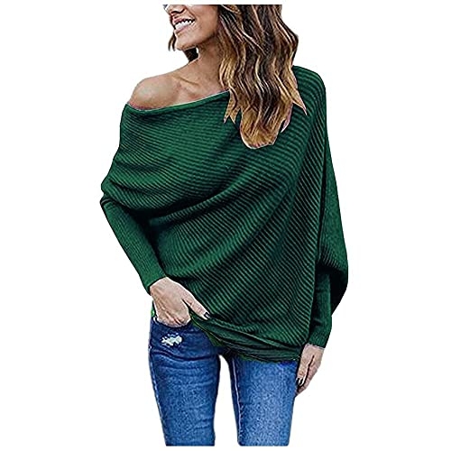 f1d6b699206fa GOLDSTITCH Women s Off Shoulder Batwing Sleeve Loose Pullover Sweater Knit  Jumper