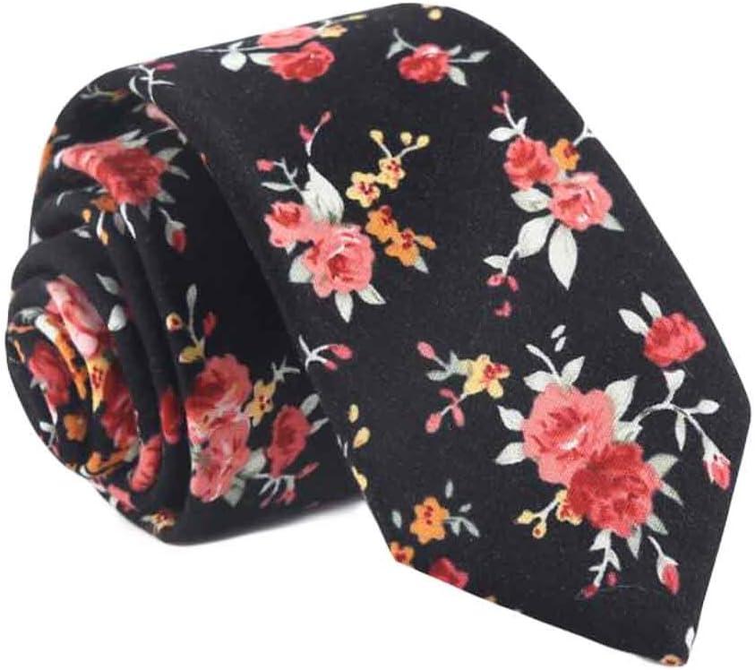 Wukong Direct Elegant Formal/Casual Black Camellia Neckties Men Cotton Necktie Skinny Necktie