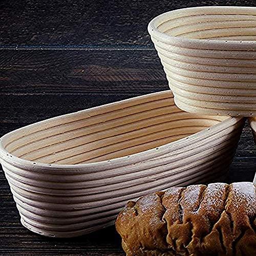 NN 10-Zoll-Oval Brot Proofing Korb Sauerteig Proving Leinen Liner + Brotschneider + Brot Lame + Brot Bürste für Professional und Home,Weiß