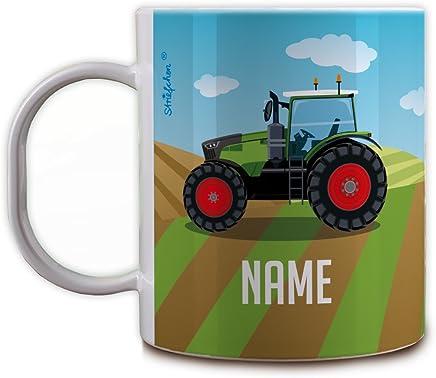 Preisvergleich für Herz & Heim® Kunststoff Kindertasse - Traktor - mit Namen des Kindes