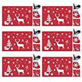 tiantian Juego de 18 manteles individuales de PVC de Navidad, lavables y resistentes al calor, diseño de reno de Navidad, resistentes al calor para decoración de mesa de comedor (rojo)