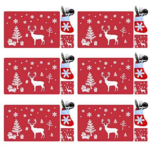 tiantian 18-teiliges Weihnachts-Platzsets aus PVC, Besteck-Set, waschbar, hitzebeständig, Rentier, Weihnachten, hitzebeständig, Tischsets für Esstisch-Dekoration (rot)