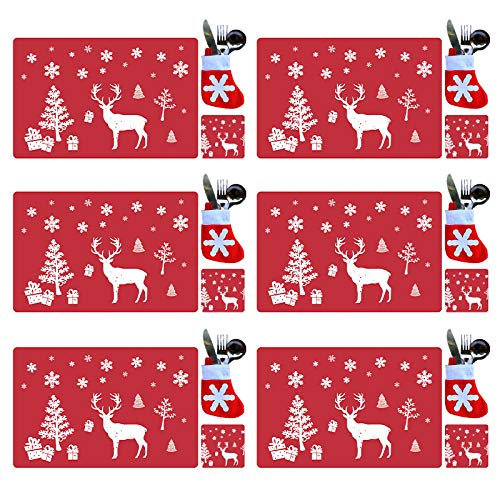 tiantian 18PCS Christmas PVC Placemats Coasters Cutlery set, Washable Heat Resistant Reindeer Xmas Heat Resistant Placemats for Dining Table Decoration(Red)