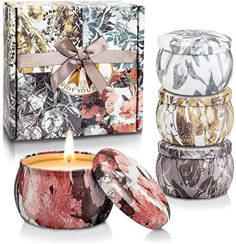 Velas Perfumadas para Mujer, 5.56oz Cera de Soja, Vela Aromaticas Regalo, Juegos de Velas para Cumpleaños, Día de La Madre, Día de San Valentín, Navidad, Aliviar el Estrés y Uso Diario, Set de 4
