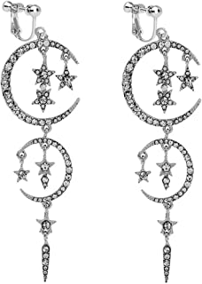 Usresu Clip on Earrings Vintage Star Moon Tassels Dangle Rhinestone Silver-tone Plated