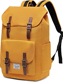 Backpack for Men, Vaschy Casual Water-resistant Hiking Camping Daypack Rucksack Travel School Backpack Drawstring Bookbag for College Fits 15.6inch Laptop (Yellow)