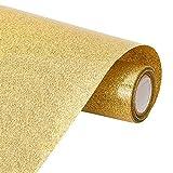 BENECREAT 2mx30cm Rollo de Vinilo de Transferencia de Calor con Purpurina para Planchar en Rollo de Vinilo para Hacer y Decorar Bolsas de Camisetas para Ropa, Color Oro