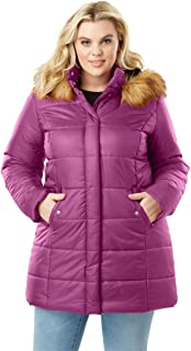 e867053292d Roamans Women s Plus Size Classic-Length Quilted Parka with Faux-Fur Hood