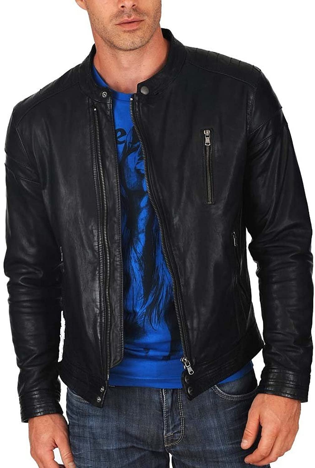XQS Mens Zip Slim Stand Collar Fleece-Lined Faux-Leather Retro Jackets