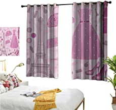 Warm Family Eclipse Curtains Heels and Dresses,Paris Fashion Atelier French Boutique Feminine Glamor Eiffel,Baby Pink Mauve Magenta 72