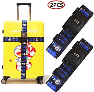 GinzaTravel Doraemon Luggage Straps Suitcase Belts Adjustable Packing Straps Travel Accessories Luggage Strap with Combina...