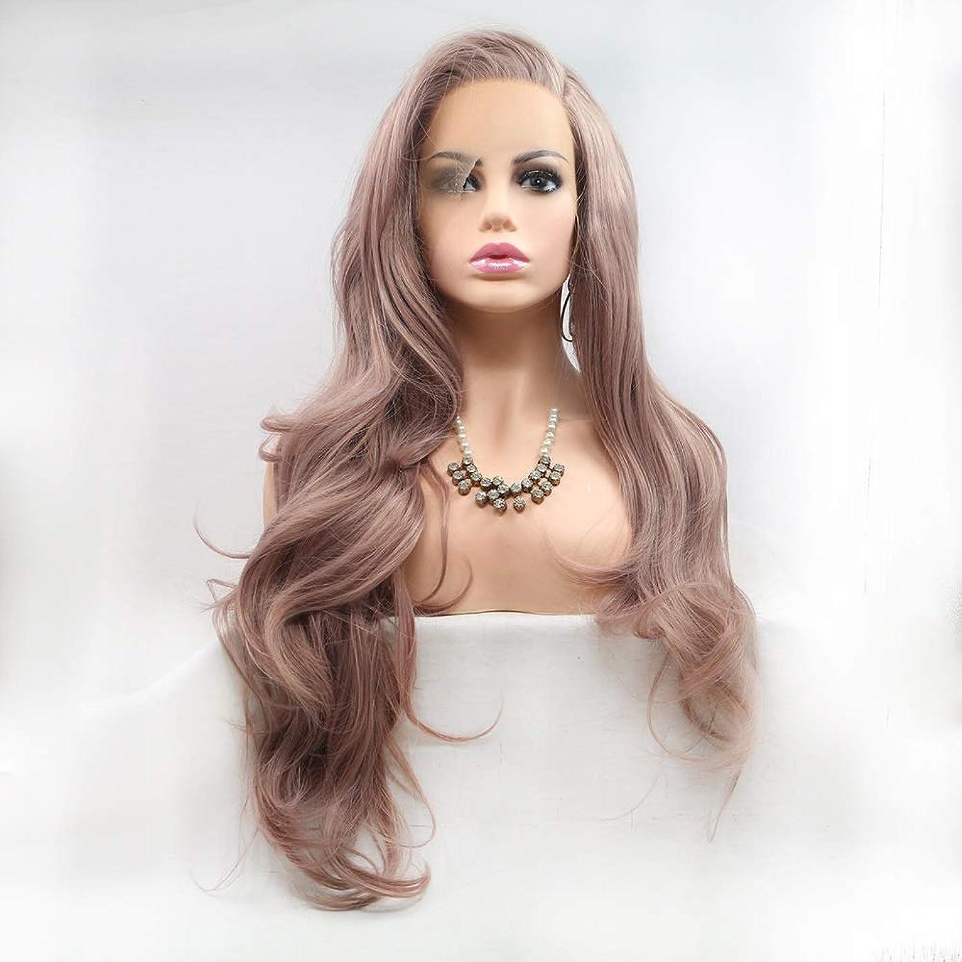 直面する製造業テクトニックZXF 茶色の長い髪の巻き毛のかつらの女性の手作りのレースのヨーロッパとアメリカのかつらは、かつらのヘアセットに設定 美しい