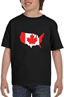 Canada and USA Flag Children Round Neck Short Sleeve Tee