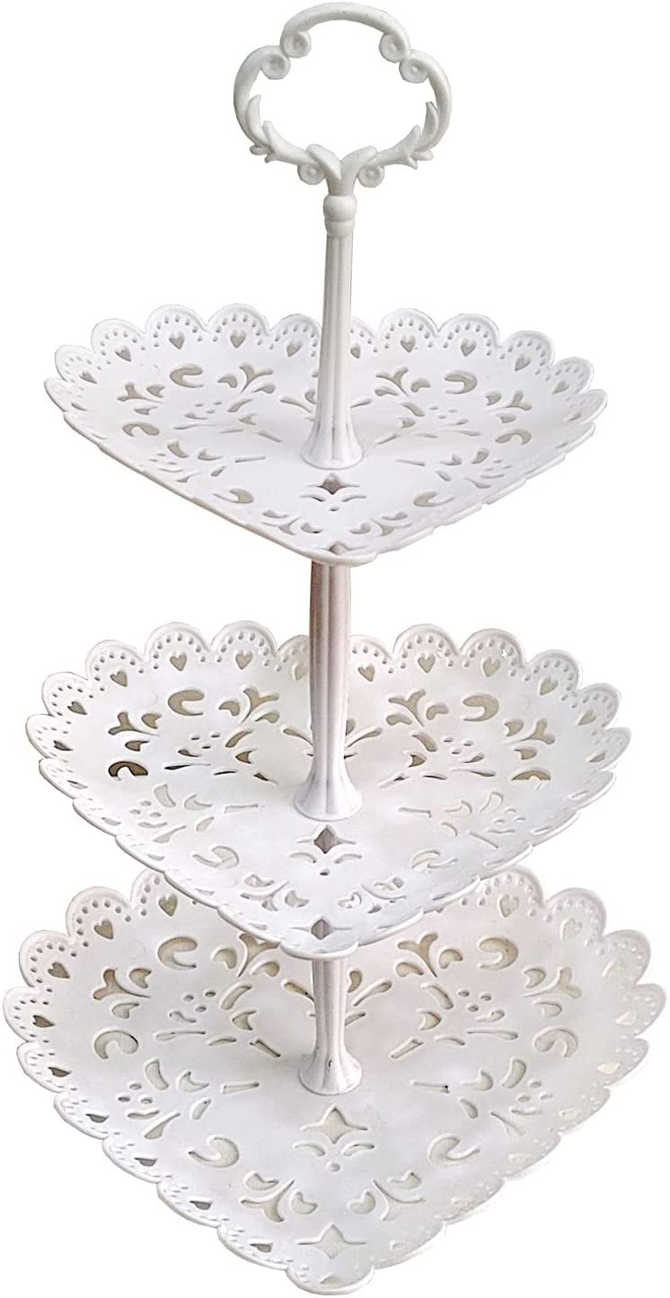 ebabyland Party 3Tier Heart Tray - Cake Stands for Dessert Table Wedding Party Decorations Cupcake Stand Tea Party Decorations