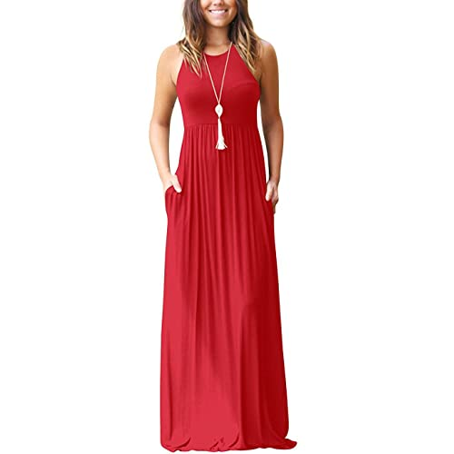 32e6ae83505 GRECERELLE Women s Sleeveless Racerback and Long Sleeve Loose Plain Maxi  Dresses Casual Long Dresses with Pockets