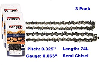18 Inch 0.325'' Pitch 0.063'' Gauge Semi Chisel Chainsaw Chain 74 Links (3PCS)