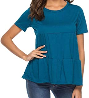 S-Fly Women's Plain Short Sleeve Patchwork Casual Loose Pleated Tee Shirts Blouse Top