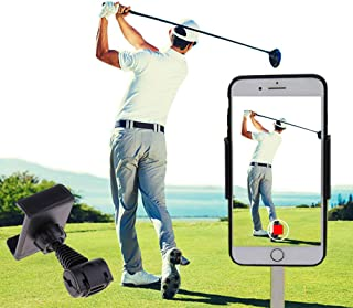 SIZIMA Soporte Móvil Golf Soporte de Entrenamiento para grabación de Swing Golf Accesorios, Soporte Universal Clip Celular Manillar para Bicicleta Moto, Soporte Móvil Coche Reposacabezas 360 Grado