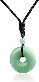 Jwelbuete Healing Crystal Gemstone Necklace Adjustable Braided Rope Protection 30mm Lucky Coin Peace Donut Circle Pendant ...