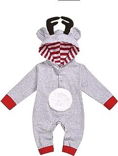 GRNSHTS Baby Girl Boy Christmas Romper Unisex Kids Antlers Bodysuit Long Sleeve Hooded Deer Costume Striped Jumpsuit