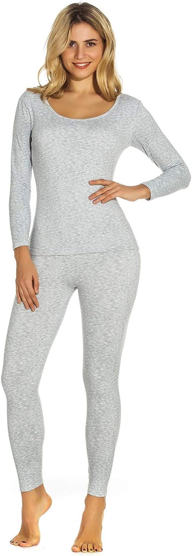 Mcilia Women's Ultra Soft Fleece Lined Thermal Underwear Set Long Sleeve Top & Pants