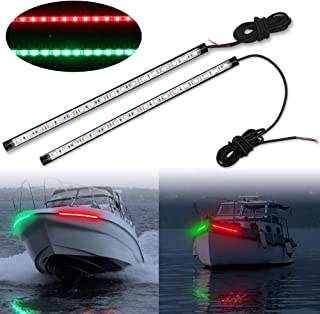 Obcursco 12 Inch LED Boat Bow Navigation Light Kits for Marine Boat Vessel Pontoon Yacht Skeeter - 1 Pair - Red & Green.