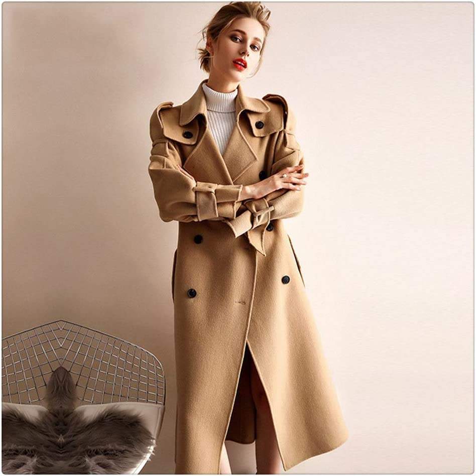 ZTTZX Women's Coat Double-Sided Cashmere Coat Women's Woolen Woolen Coat Women Winter Style was Thin Thick Coat Women Casual Jacket (Color : Camel, Size : Large)