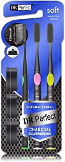 DR.PERFECT Toothbrush Teeth Whitening Charcoal Toothbrush No Gums Bleeding No Bristles Fell Outwith Medium Soft Tip Bristle with Free charcoal cap for Charcoal Toothpaste