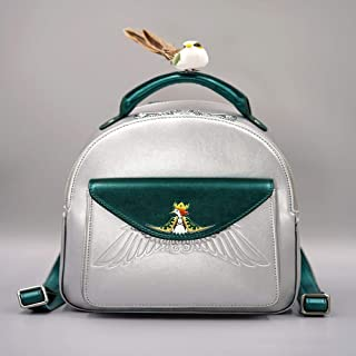 RJW Backpack Lady Bag/Shoulder Bag Casual Cute Wild Fashion Silver Backpack Fashion (Color : Silver)