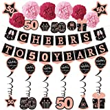 50th birthday decorations for women - (21pack) cheers to 50 years rose gold glitter banner for women, 6 paper Poms, 6 Hanging Swirl, 7 decorations stickers. 50 Years Old Party Supplies gifts for women