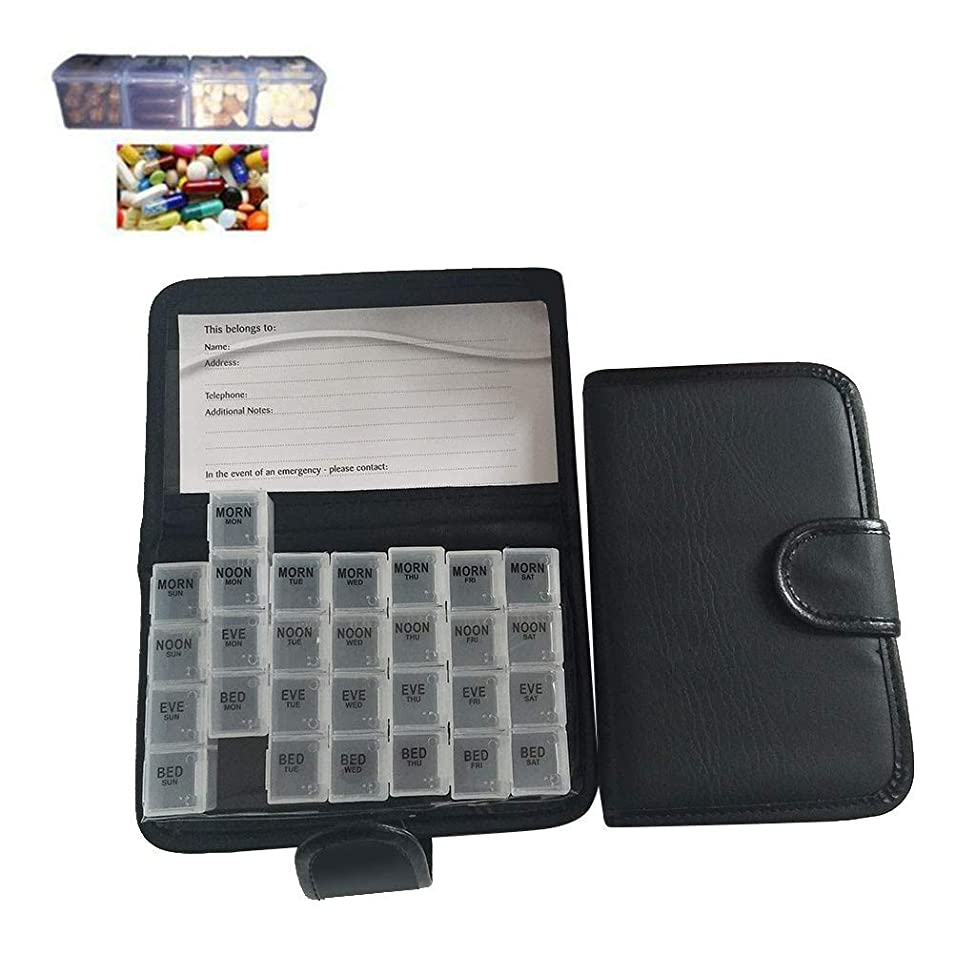 Hefu 28-Grid 7 Day Pill Tablet Storage Box,Portable Pill Container Notebook Shape Travel Medicine Box