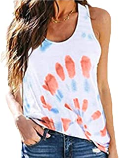 Womens T-Shirt Tie-Dye Tank Tops Sleeveless Crew-Neck Top Blouse
