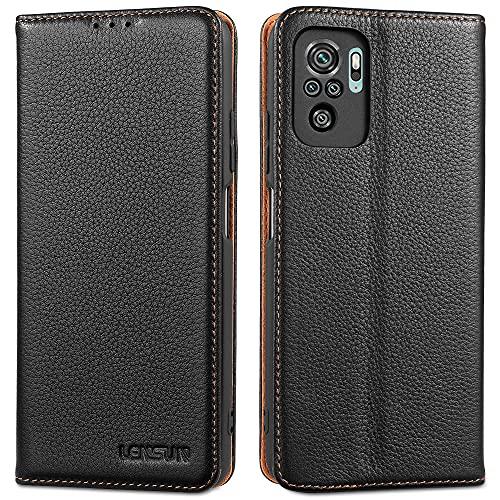LENSUN Funda Xiaomi Redmi Note 10 4G/Note 10S con Tapa, Carcasa de Cuero Genuino con Cierre Magnético y Ranuras para Tarjetas Libro Protección para Teléfono Redmi Note 10 4G/Note 10S-Negro(MN10-DC-BK)