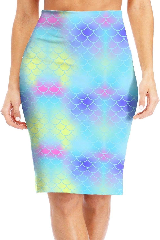 Antonia Bellamy Pretty Psychedelic Mermaid Scale Women's Elastic Waist Stretchy Knee Length Bodycon Midi Pencil Skirt