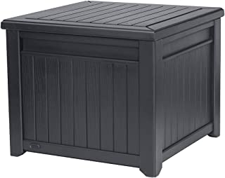Keter 55 Gallon Resin Outdoor Box Table in One with Patio Furniture Cushion Storage, Grey