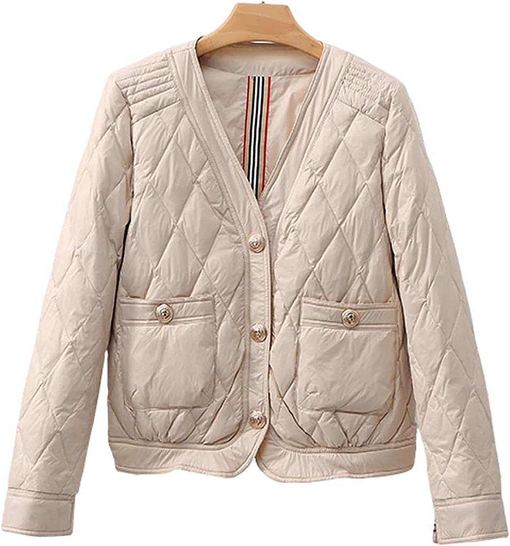 Raletyk Women's V-Neck Short Puffer Jacket Warm Down Jackets Lightweight, Fashion, Casual Coat Three-Button