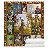 TreeSwift Rabbit Bunny Throw Blanket for Women and Men Fuzzy Rabbit Blanket for Kids and Adults Soft Sherpa Throw Blankets Rabbit Bunny Gifts for Rabbit Lovers
