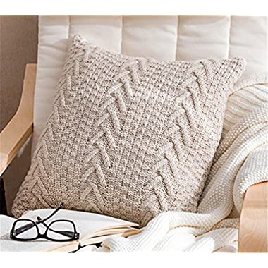 Decorative Cotton Knitted Pillow Case Cushion Cover Double-Cable Warm Throw Pillow Covers for Bed Couch 18  X 18  (Cover Only, Beige)