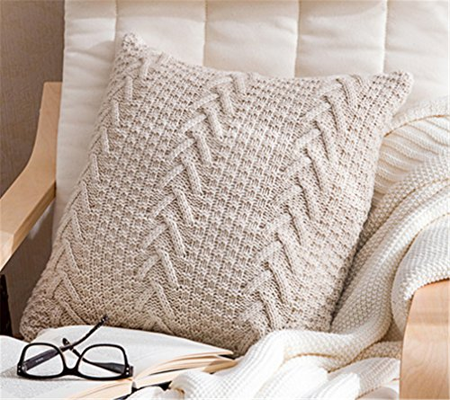 ANDUUNI Decorative Cotton Knitted Pillow Case Cushion Cover Double-Cable Warm Throw Pillow Covers for Bed Couch 18